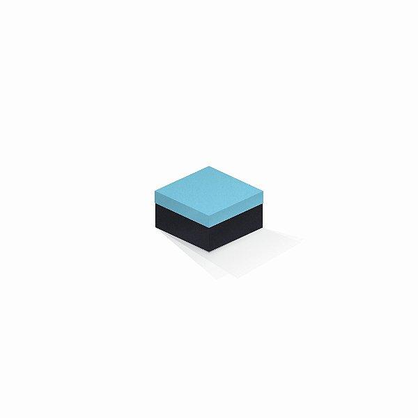 Caixa de presente | Quadrada F Card Azul-Preto 9,0x9,0x6,0