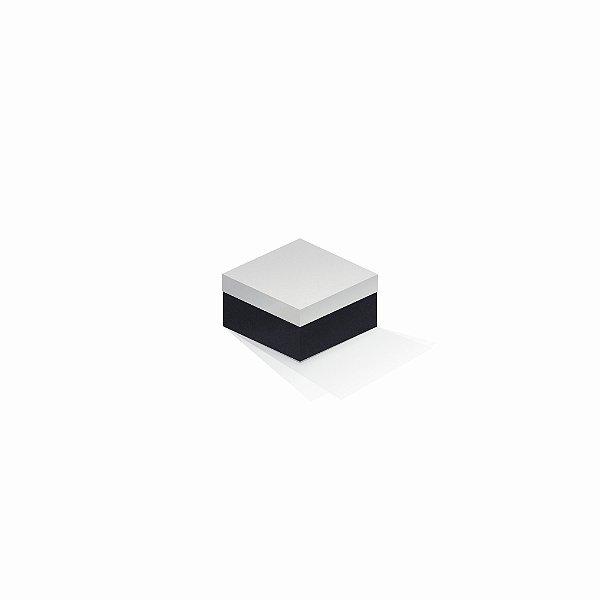Caixa de presente | Quadrada F Card Branco-Preto 9,0x9,0x6,0