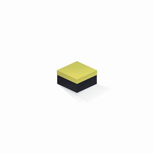 Caixa de presente | Quadrada F Card Canário-Preto 9,0x9,0x6,0
