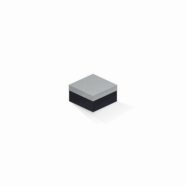 Caixa de presente | Quadrada F Card Cinza-Preto 9,0x9,0x6,0