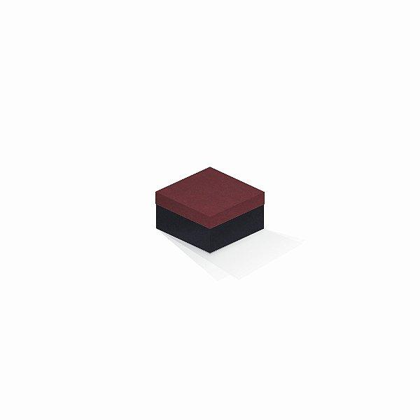 Caixa de presente | Quadrada F Card Scuro Vermelho-Preto 9,0x9,0x6,0