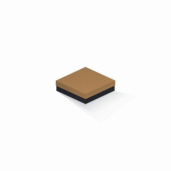 Caixa de presente | Quadrada F Card Ocre-Preto 12,0x12,0x4,0