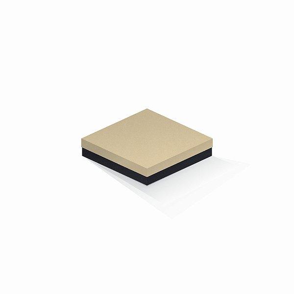 Caixa de presente | Quadrada F Card Areia-Preto 15,5x15,5x4,0