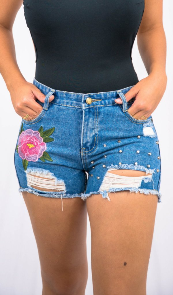 Shorts Bordado Jeans - 38