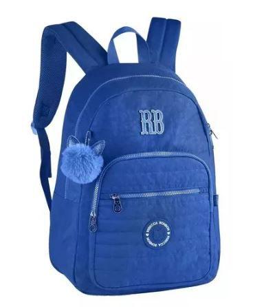 Mochila Juvenil Clio Rebeca Bonbon Com Pompom - Azul RB2040