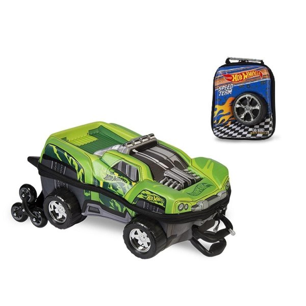 Kit Mochila de Rodinha + Lancheira Hot Wheels Dawgzilla 3D