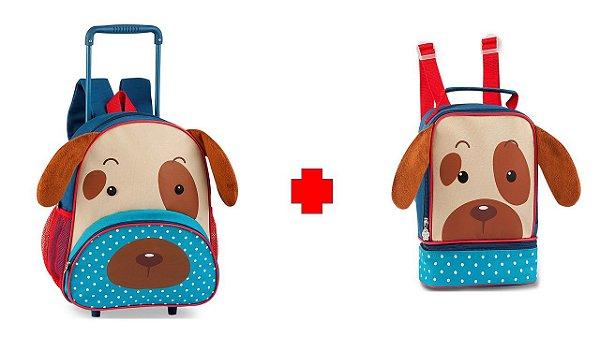 Kit Mochila De Carrinho Infantil Clio Pets Cachorro + Lancheira