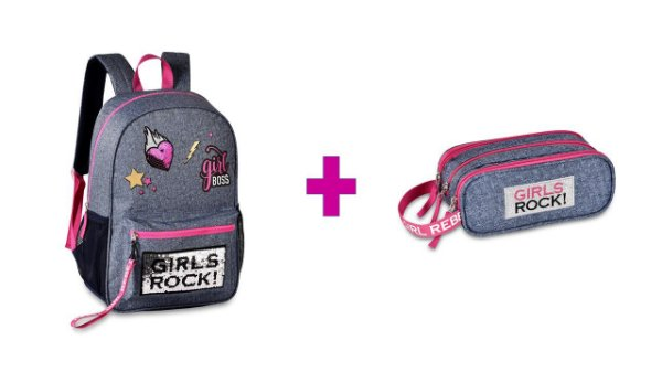 Kit Mochila Clio Girls Rock + Estojo - Rosa