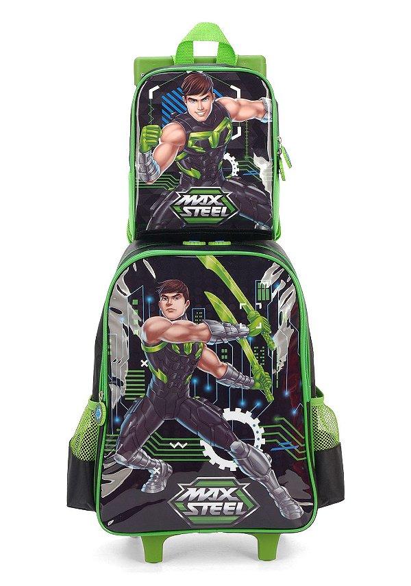 Kit Mochila Escolar e Lancheira Max Steel Com Rodinhas - Verde