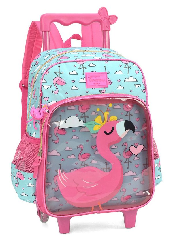 Mochila com rodinhas Luxcel Flamingo IC34215 - Verde e rosa