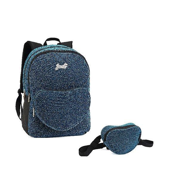 Kit Mochila Escolar Denlex Just Glitter + Pochete Coração - Azul