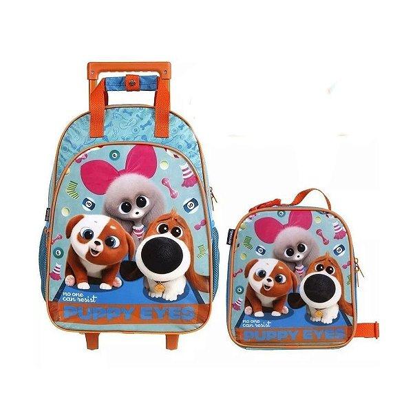 Kit Puppy Eyes Com Lancheira  Mochila com Rodinhas Pets 2