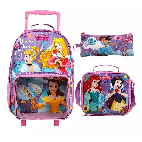Kit Mochila Infantil Escolar Princesas Dermiwil + Lancheira + Estojo - 37502