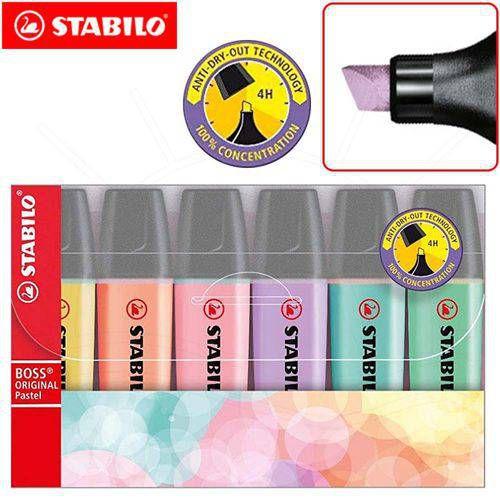 Kit Marca Texto Stabilo Boss Pastel Estojo C/6 - 70/6-2