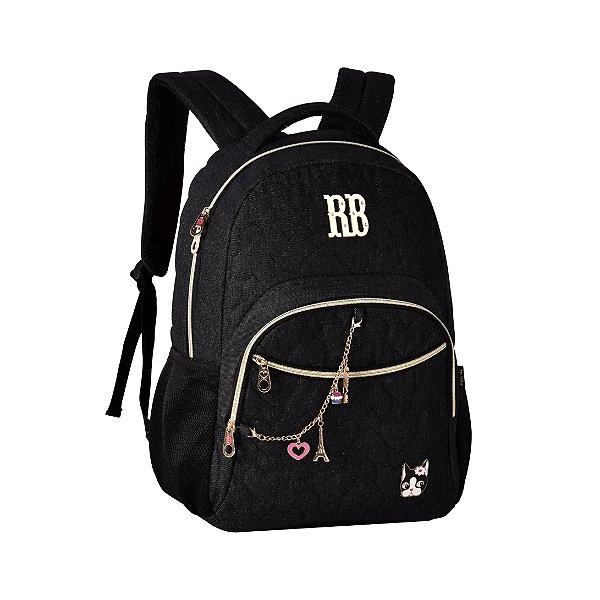 Mochila Escolar Rebecca Bonbon P Notebook RB2052 Jeans Preta