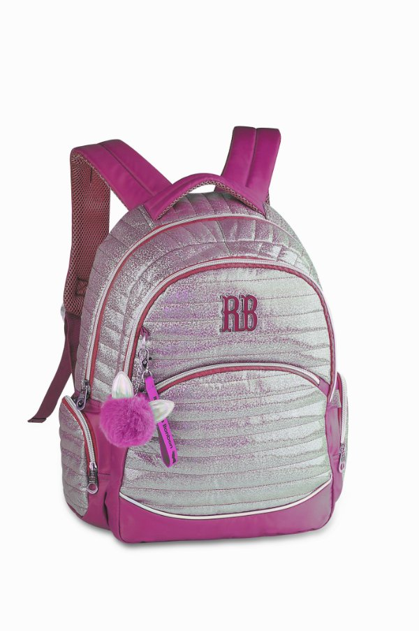 Mochila Rebecca Bonbon Costas Holográfica Glitter RB2087 Rosa