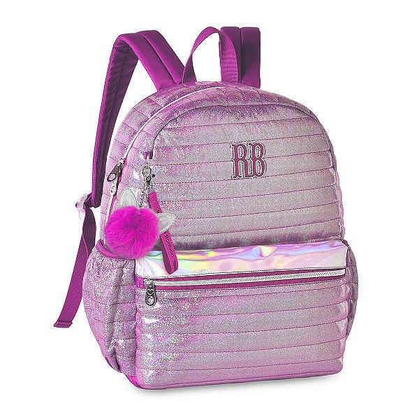 Mochila Rebecca Bonbon Costas Holográfica Glitter RB2064 Rosa