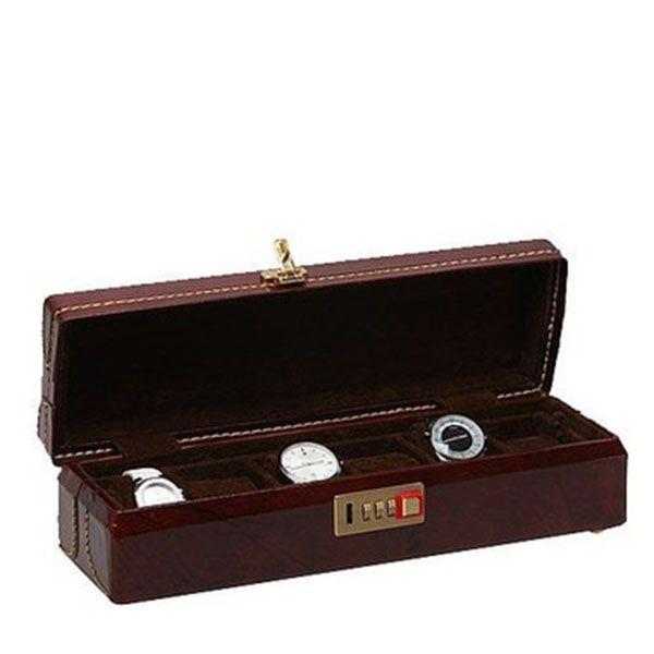 Porta Relógios com 06 Divisórias Couro Marrom