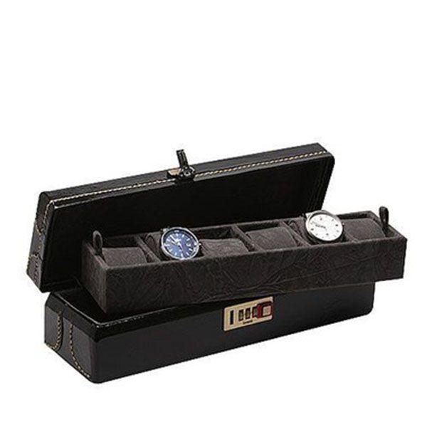 Porta Relógios com 06 Divisórias Couro Preta