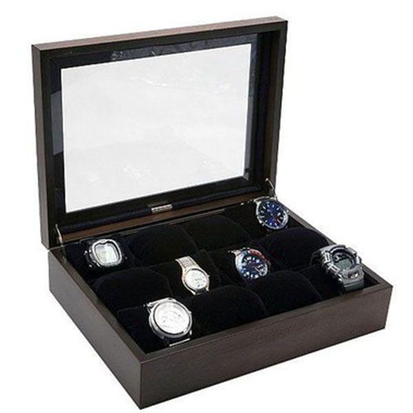Porta Relógios com 12 Divisórias Madeira