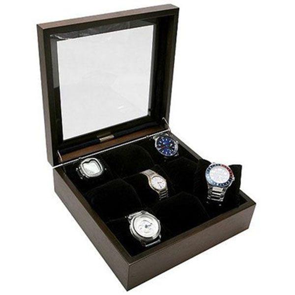 Porta Relógios com 09 Divisórias Madeira