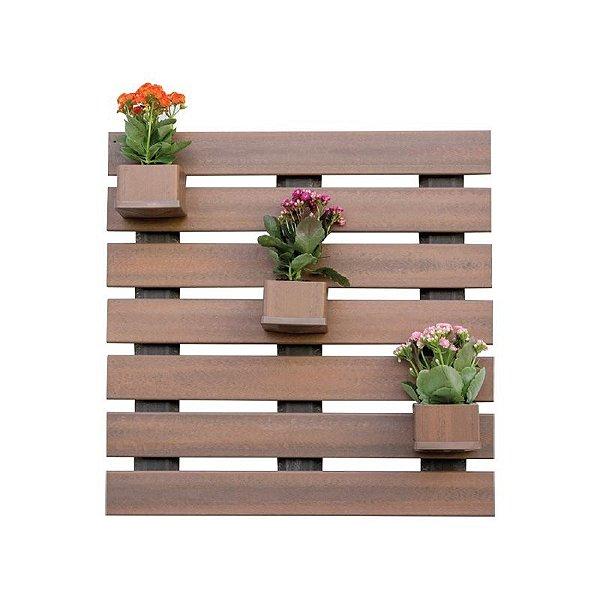 Floreira vertical 75x75 cm /cachepot 12x12x8cm    - Madeira Plástica