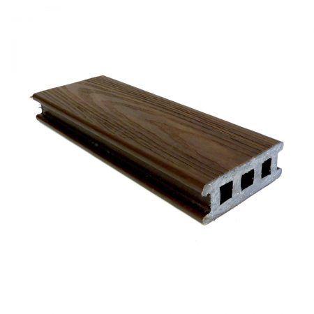 Tábua de Deck em Madeira Plástica 90x32mm 2 Fêmeas Texturizada 3 metros Ipê