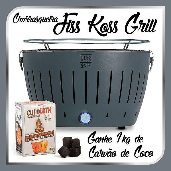 Churrasqueira Portátil a Carvão - Fiss Koss Grill - Grafite - Ganhe 1kg de Carvão de Coco