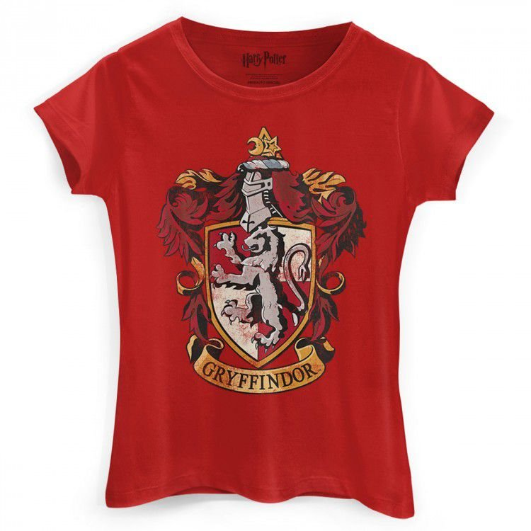 Camiseta Feminina Baby Look Harry Potter - Grifinoria