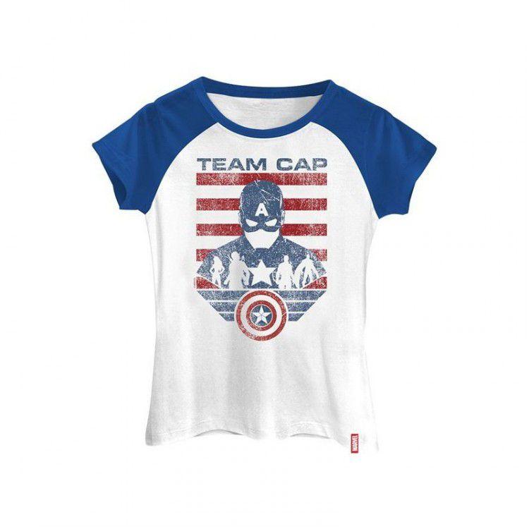 Camiseta Feminina Marvel Guerra Civil - Time Capitão América