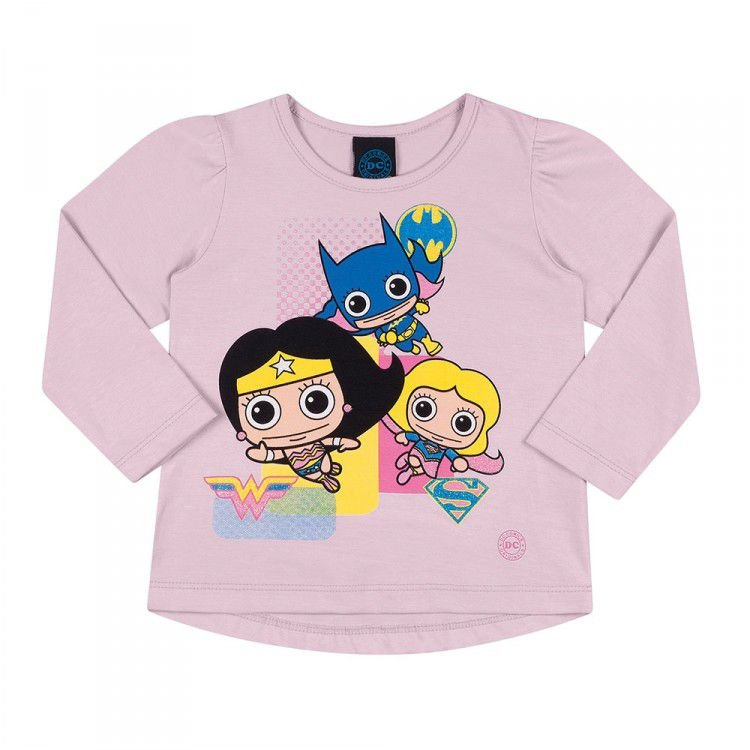 Camiseta Infantil Feminina Manga Longa DC - Supergirl Lilás