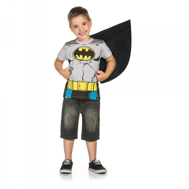 Camiseta Infantil Manga Curta DC - Batman com Capa