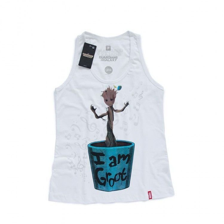 Camiseta Feminina Marvel Guardiões da Galáxia - Baby Groot
