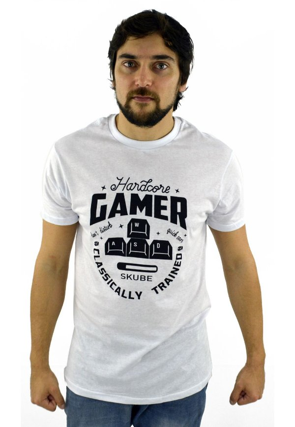 CAMISETA HARDCORE GAMER BRANCA
