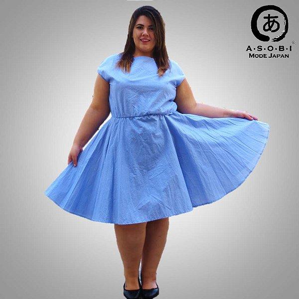 Vestido Plus Size Tricoline Azul - Sorah
