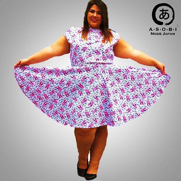 Vestido Plus Size Manga Curta Rosa - Ballet