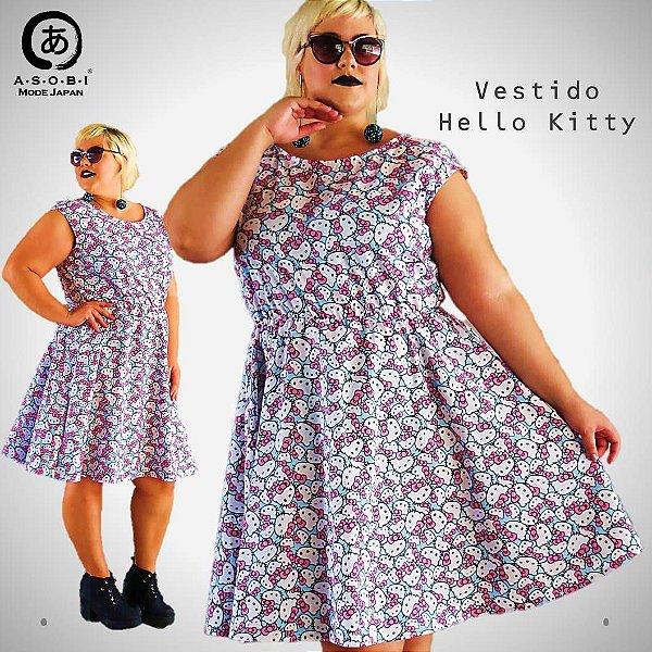 Vestido Hello Kitty Blue - Evasê Tricoline com Bolsos