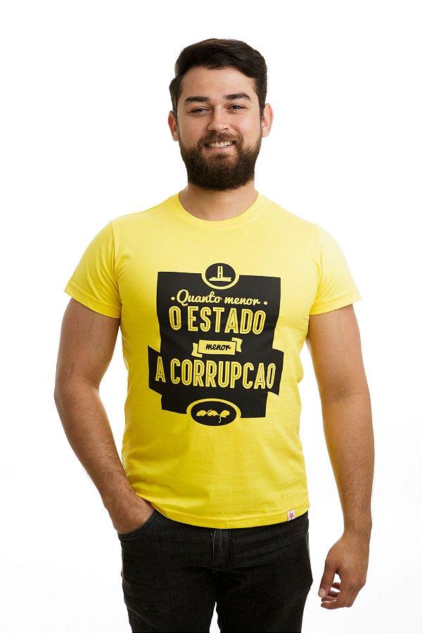 Camiseta Menor o Estado Menor a Corrupção Amarela