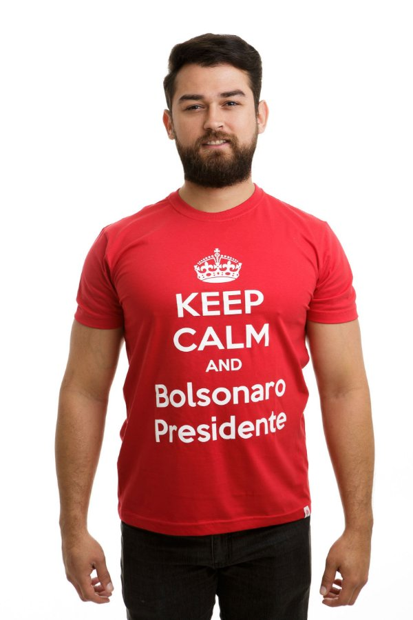 Camiseta Keep Calm and Bolsonaro Presidente Vermelha