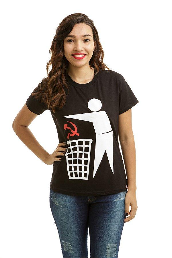 Camiseta Comunismo Lixo Preta (Baby Look)