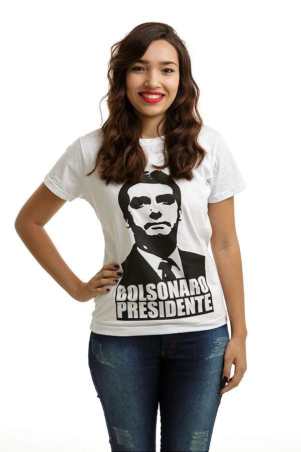 Camiseta Bolsonaro Presidente Branca (Baby Look Rosto Preto)