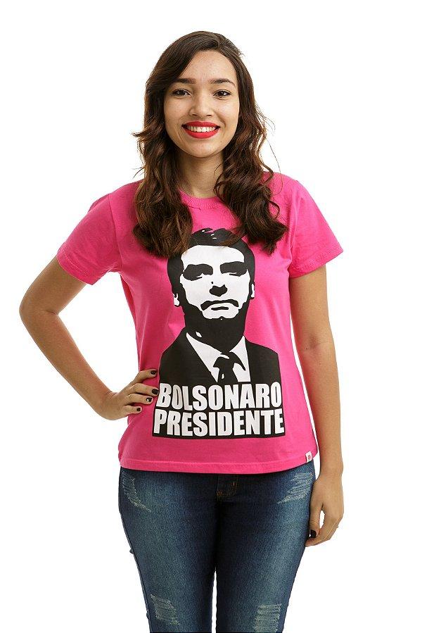 Camiseta Bolsonaro Presidente Rosa Pink (Baby Look)