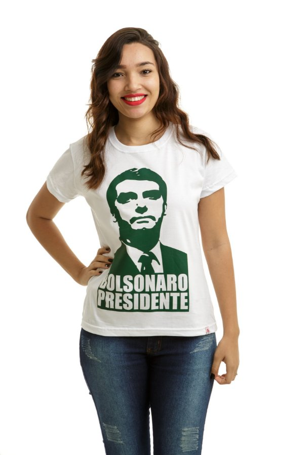 Camiseta Bolsonaro Presidente Branca (Baby Look Rosto Verde)
