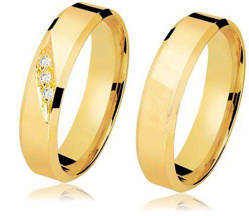 Aliança em ouro 18k com 3 diamantes