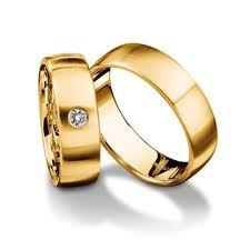 Par de Aliança em ouro 18k com aliança com 1 diamante