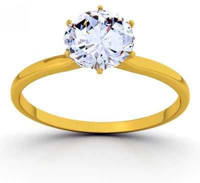 Aliança solitária de noivado em ouro amarelo 18k e Brilhante