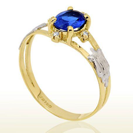 Anel de formatura feminino em ouro 18k  e pedra preciosa safira