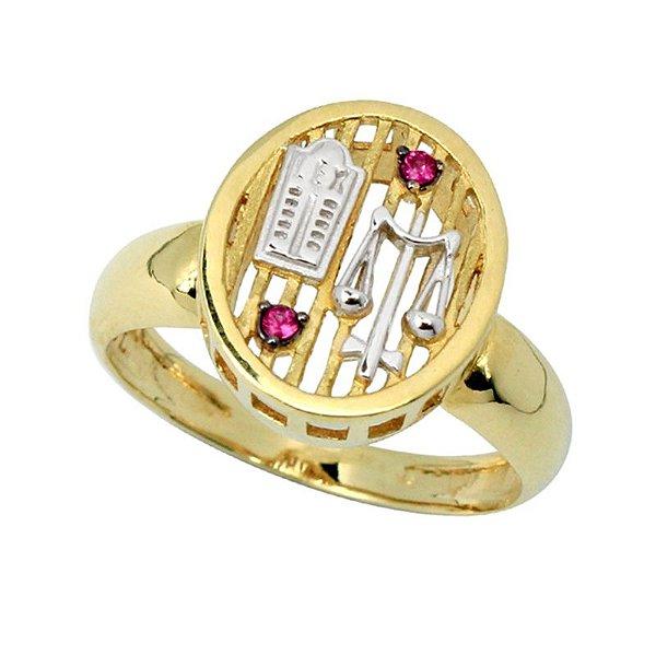 Anel de formatura unissex em ouro 18k e detalhes em ouro branco 18k e pedra preciosa rubelita