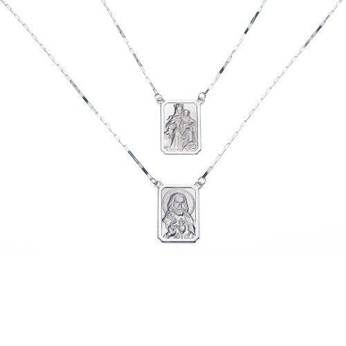 Escapulário Masculino 60cm em ouro branco 18k Sagrado Coração Jesus e Nsa. do Carmo