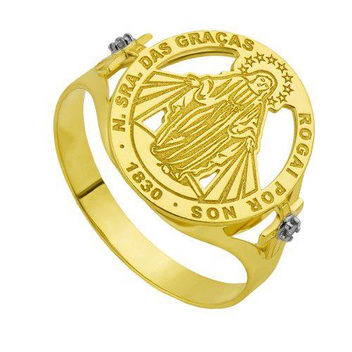 Anel Unissex em ouro amarelo 18k Nsa das Graças